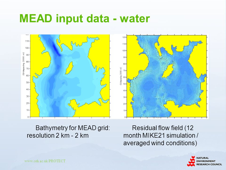 www.ceh.ac.uk/PROTECT Residual flow field (12 month MIKE21 simulation / averaged wind conditions) Bathymetry for MEAD grid: resolution 2 km - 2 km MEA
