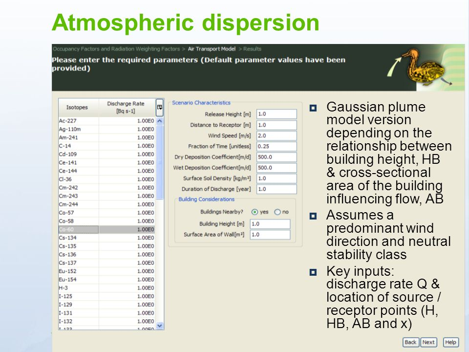 www.ceh.ac.uk/PROTECT Gaussian plume model version depending on the relationship between building height, HB & cross-sectional area of the building in