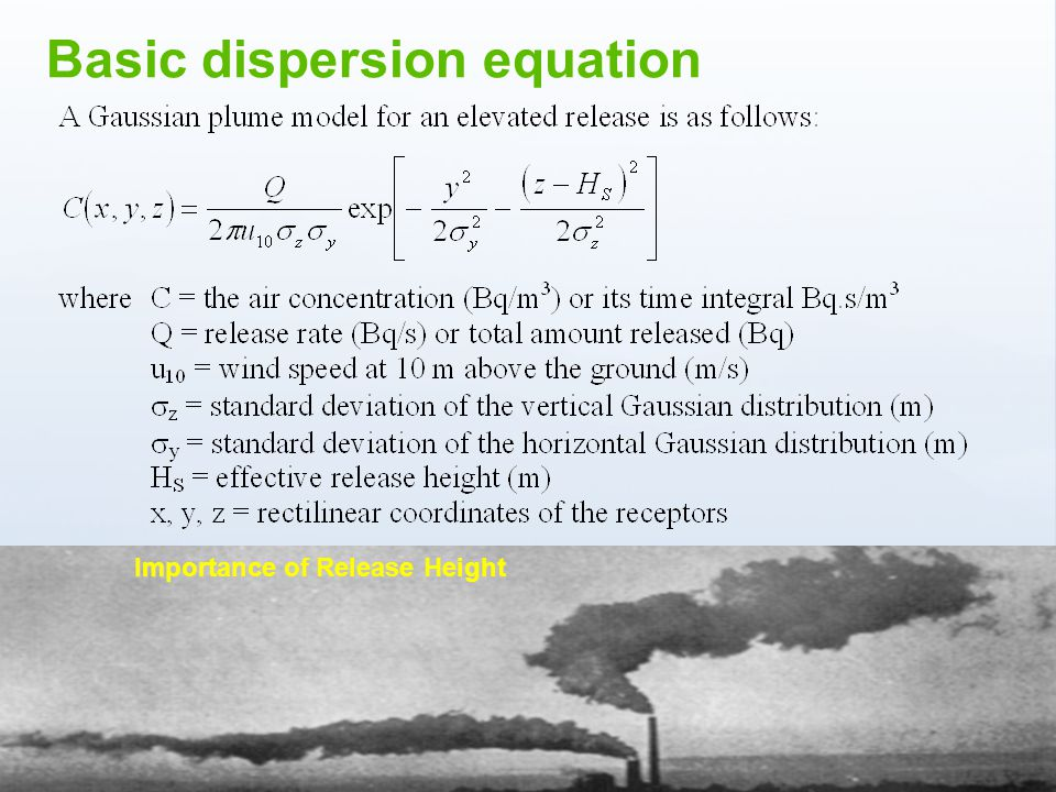 www.ceh.ac.uk/PROTECT Importance of Release Height Basic dispersion equation