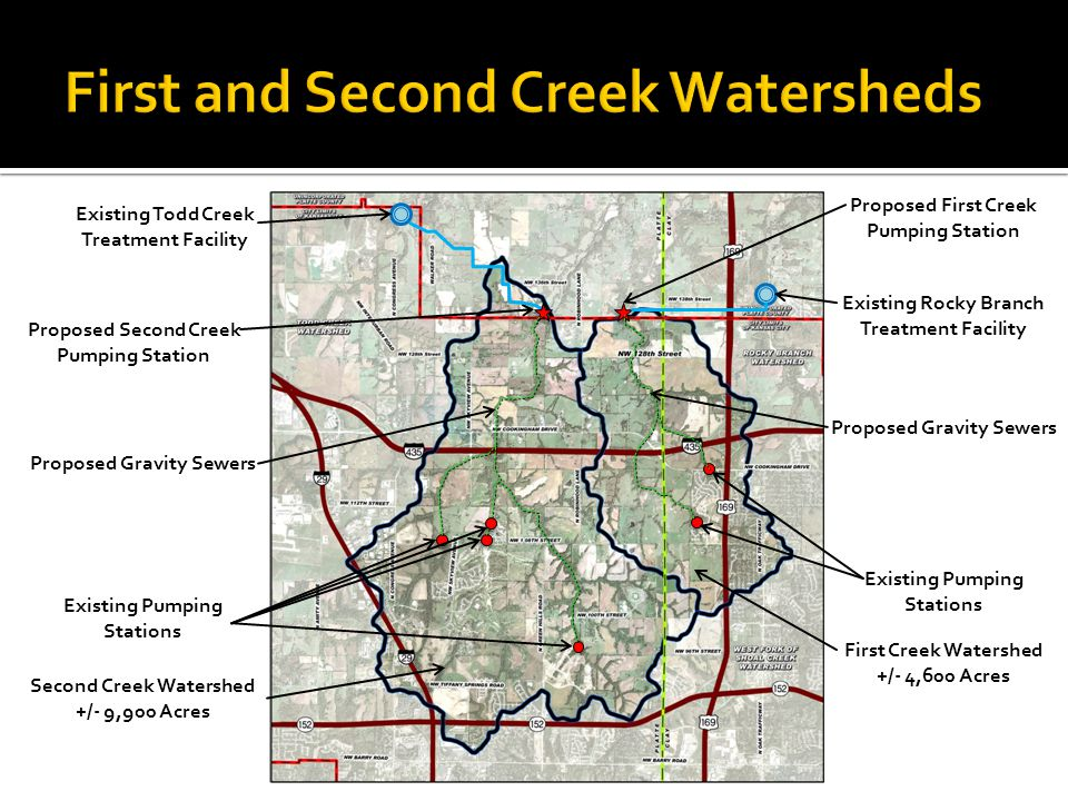 Existing Todd Creek Treatment Facility Existing Rocky Branch Treatment Facility Proposed Second Creek Pumping Station Proposed First Creek Pumping Sta