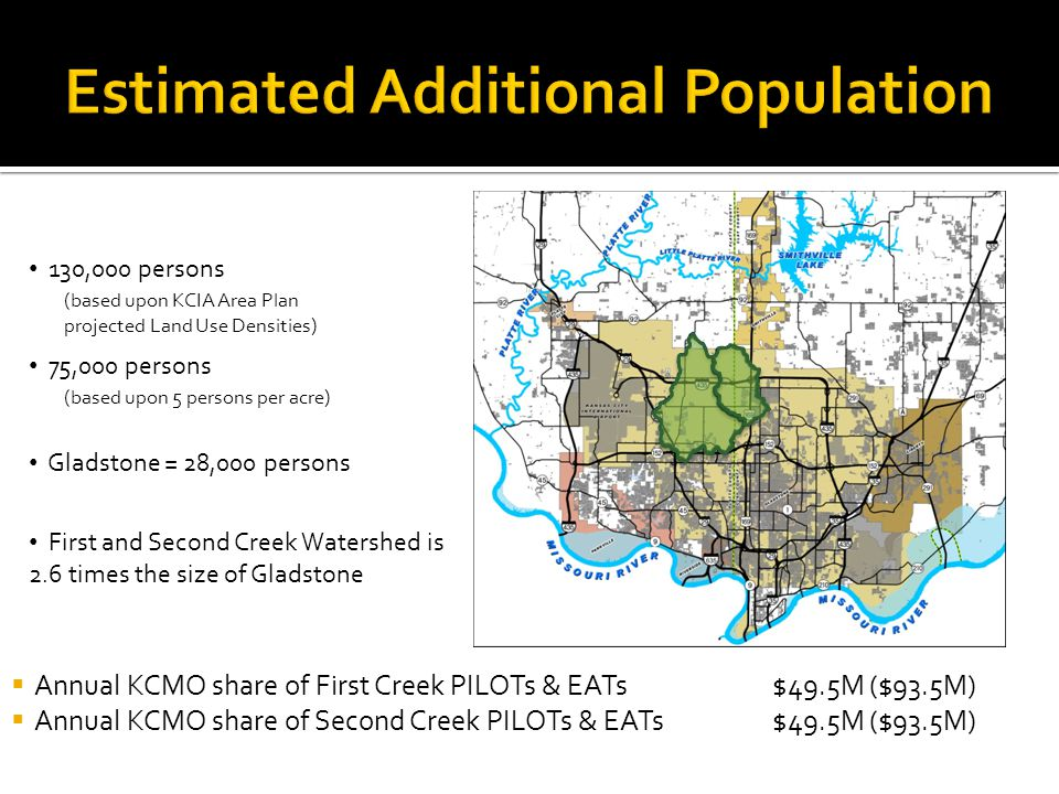 130,000 persons Gladstone = 28,000 persons First and Second Creek Watershed is 2.6 times the size of Gladstone (based upon KCIA Area Plan projected Land Use Densities) 75,000 persons (based upon 5 persons per acre) Annual KCMO share of First Creek PILOTs & EATs Annual KCMO share of Second Creek PILOTs & EATs $49.5M ($93.5M)