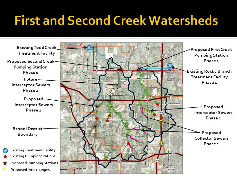 Existing Todd Creek Treatment Facility Existing Rocky Branch Treatment Facility Phase 1 Proposed First Creek Pumping Station Phase 1 Existing Pumping Stations School District Boundary Proposed Interceptor Sewers Phase 1 Proposed Collector Sewers Phase 1 Proposed Second Creek Pumping Station Phase 1 Existing Treatment Facility k Proposed Interchanges Proposed Pumping Stations Proposed Interceptor Sewers Phase 1 Future Interceptor Sewers Phase 2