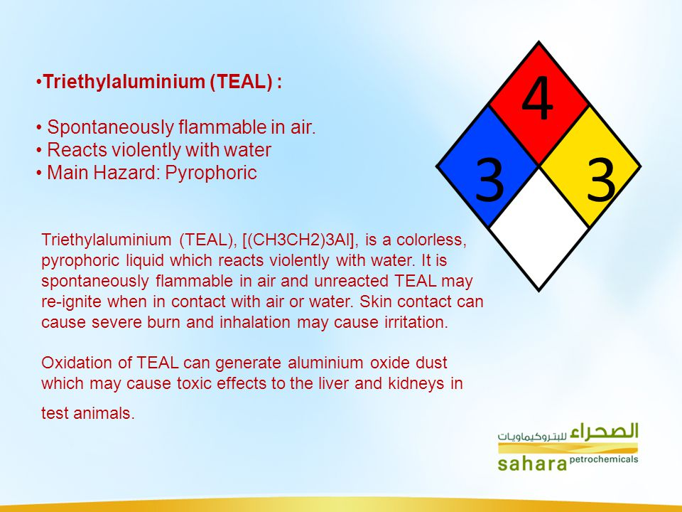 4 3 3 Triethylaluminium (TEAL) : Spontaneously flammable in air. Reacts violently with water Main Hazard: Pyrophoric Triethylaluminium (TEAL), [(CH3CH