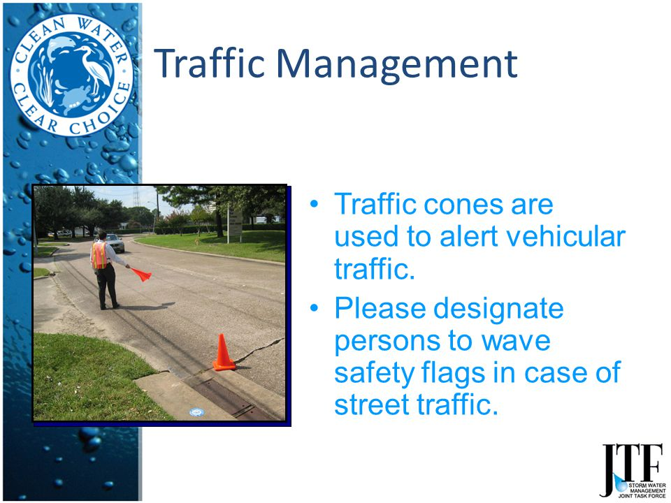 Traffic Management Traffic cones are used to alert vehicular traffic.