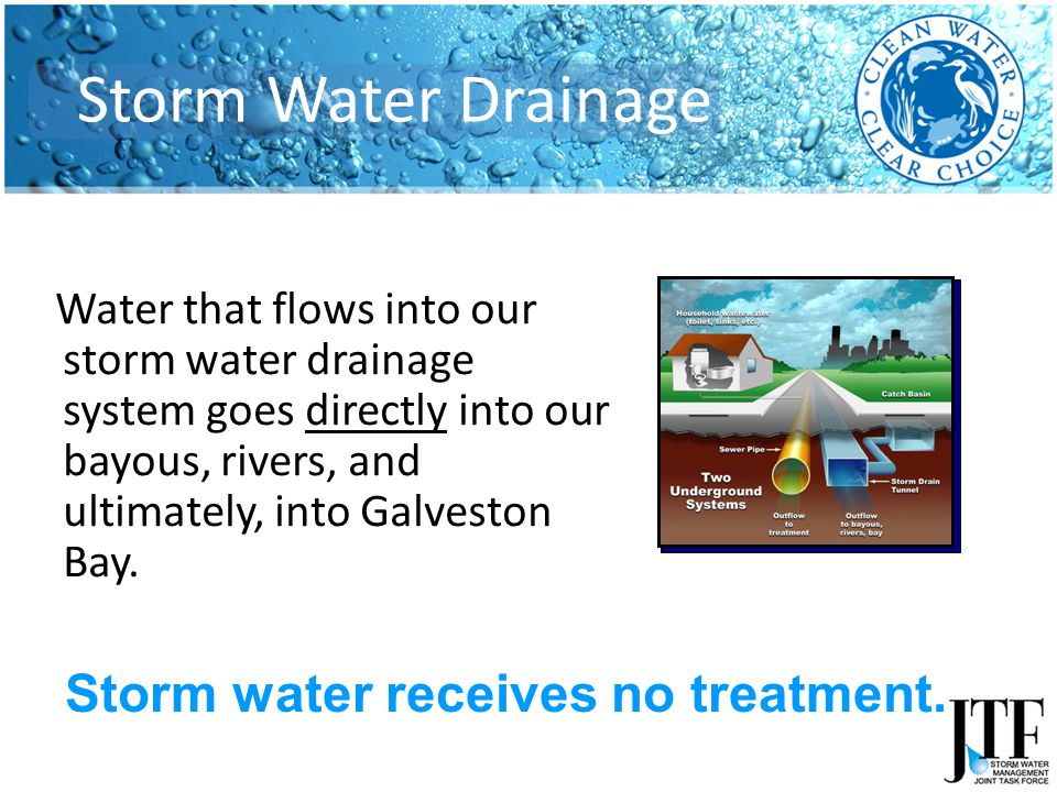 Water that flows into our storm water drainage system goes directly into our bayous, rivers, and ultimately, into Galveston Bay.
