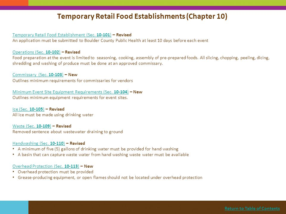 Return to Table of Contents Temporary Retail Food Establishment (Sec. 10-101)Temporary Retail Food Establishment (Sec. 10-101) – Revised An applicatio