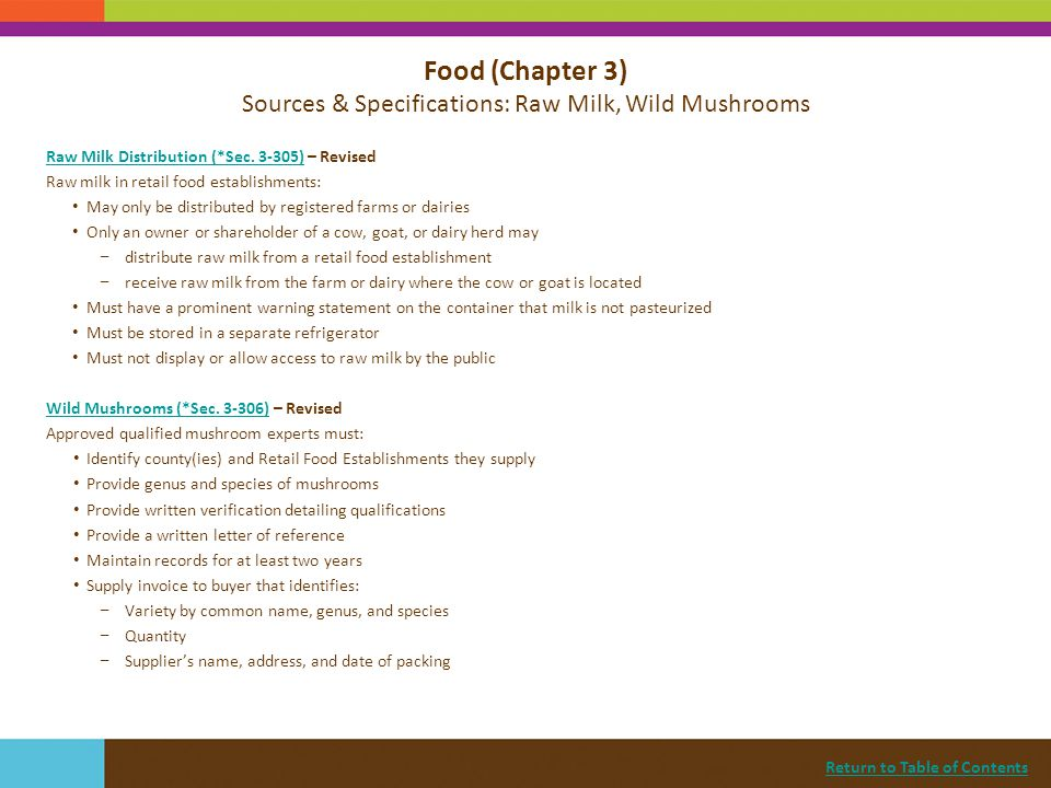Return to Table of Contents Food (Chapter 3) Sources & Specifications: Exotic Species, Egg Packaging and Pooling, Beef Steaks Game and Exotic Species (*Sec.