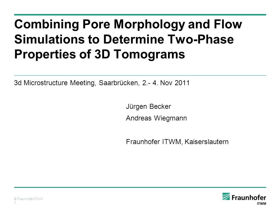 © Fraunhofer ITWM 12 Capillary Pressure Curve (Drainage, Sandstone) Drainage Model (incl.