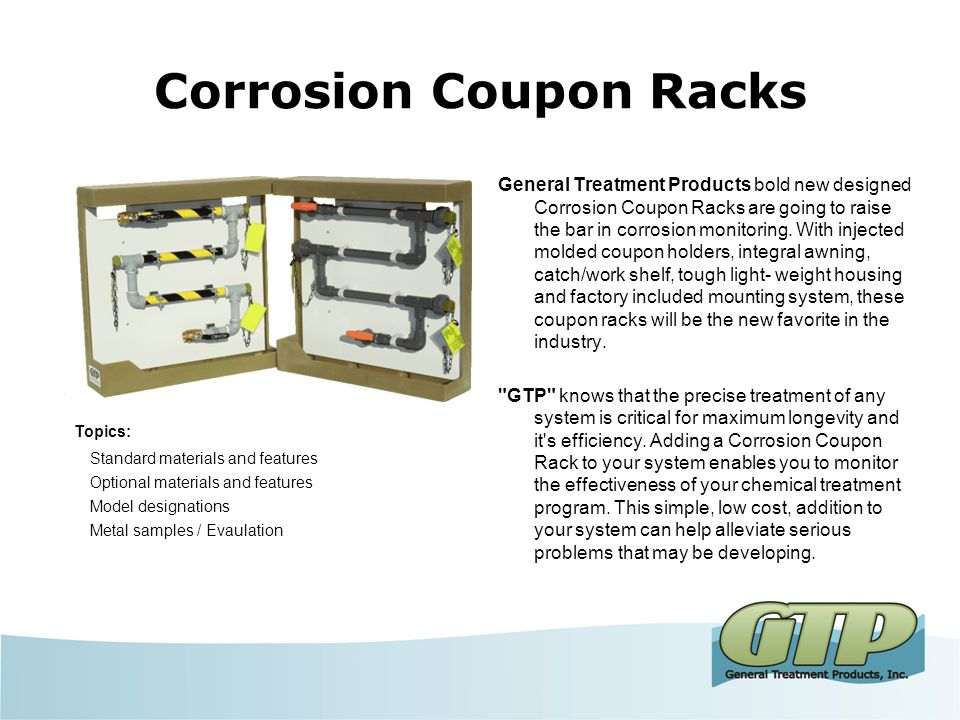 Corrosion Coupon Rack Sales Training General Treatment Products, Inc. Corrosion Coupon Racks December 2013
