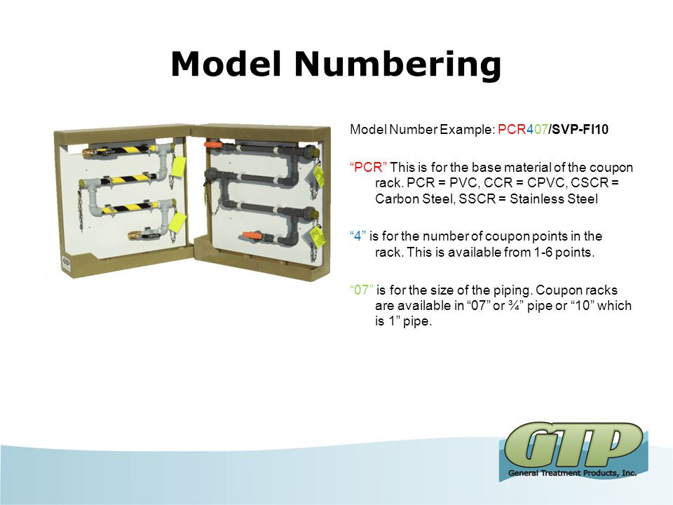 Model Numbering Model Number Example: PCR407/SVP-FI10 PCR This is for the base material of the coupon rack.