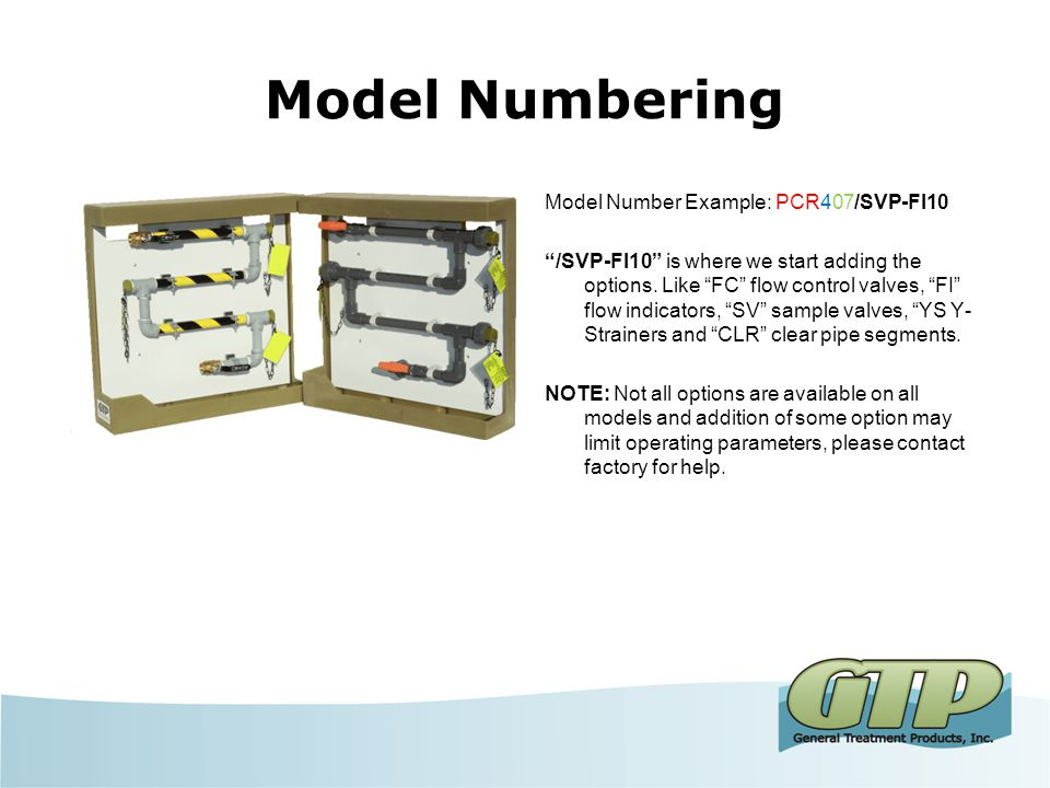 Model Numbering Model Number Example: PCR407/SVP-FI10 PCR This is for the base material of the coupon rack. PCR = PVC, CCR = CPVC, CSCR = Carbon Steel