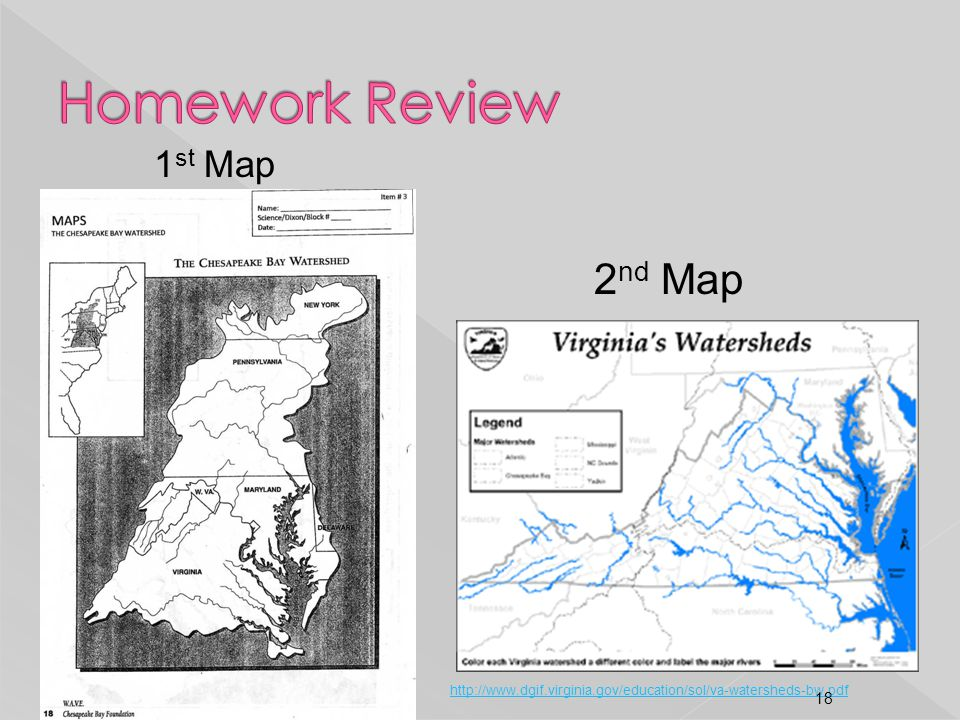 1 st Map 2 nd Map http://www.dgif.virginia.gov/education/sol/va-watersheds-bw.pdf 18