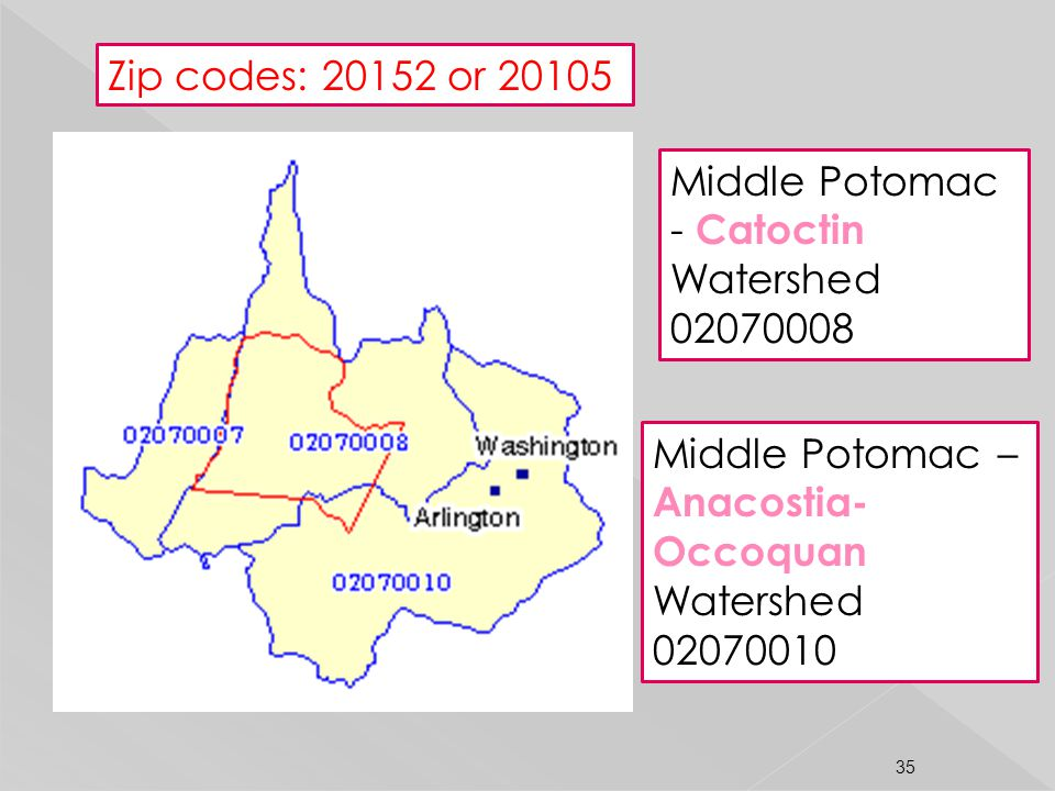 Middle Potomac - Catoctin Watershed 02070008 Middle Potomac – Anacostia- Occoquan Watershed 02070010 Zip codes: 20152 or 20105 35
