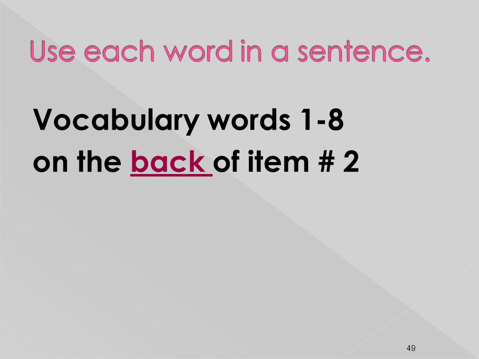 Vocabulary words 1-8 on the back of item # 2 49