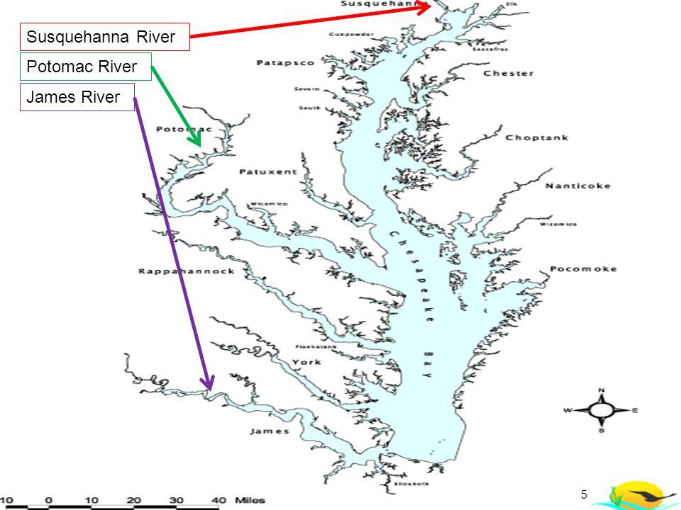5 Susquehanna River Potomac River James River