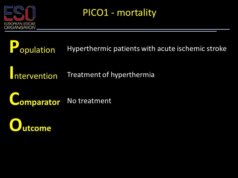P opulation Hyperthermic patients with acute ischemic stroke I ntervention Treatment of hyperthermia C omparator No treatment O utcome Mortality PICO1 - mortality