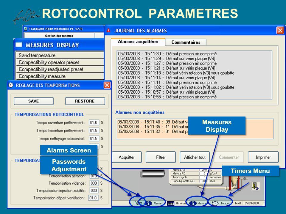 Measures Display ROTOCONTROL PARAMETRES Passwords Adjustment Alarms Screen Timers Menu