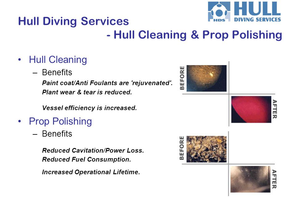 Hull Cleaning –Benefits Paint coat/Anti Foulants are 'rejuvenated'. Plant wear & tear is reduced. Vessel efficiency is increased. Prop Polishing –Bene