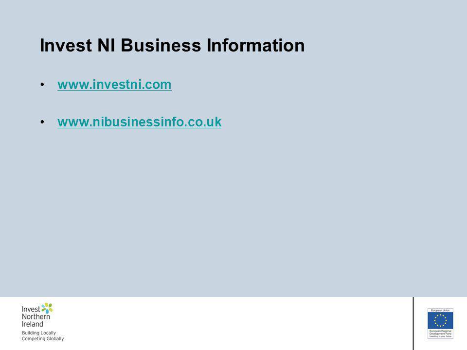 Invest NI Business Information www.investni.com www.nibusinessinfo.co.uk