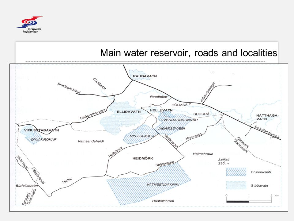 EBG Main water reservoir, roads and localities