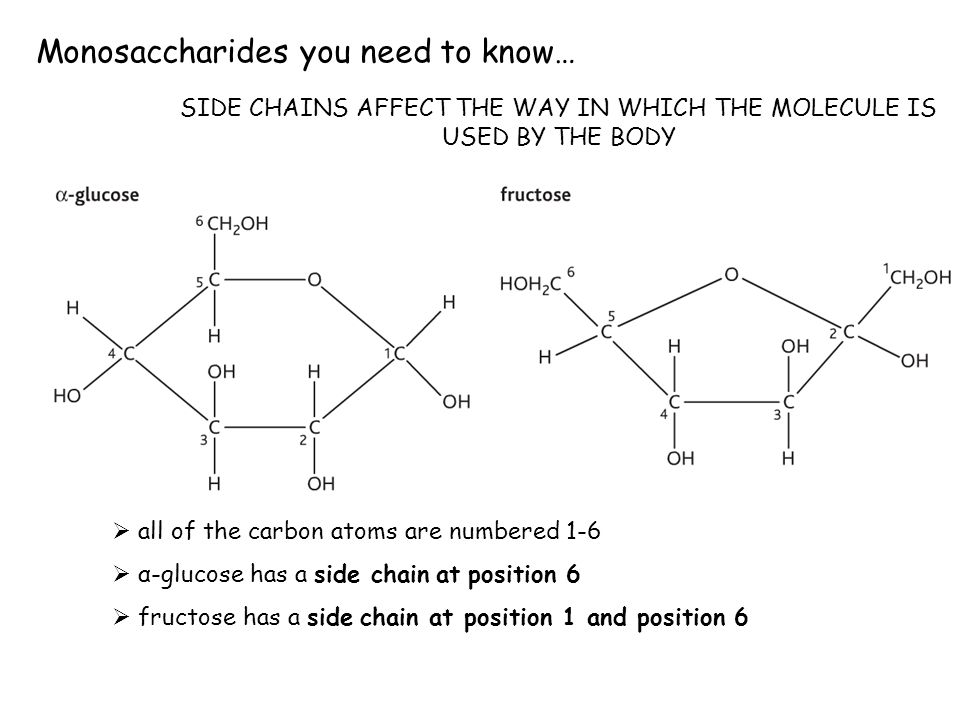 Monosaccharides you need to know… all of the carbon atoms are numbered 1-6 α-glucose has a side chain at position 6 fructose has a side chain at posit