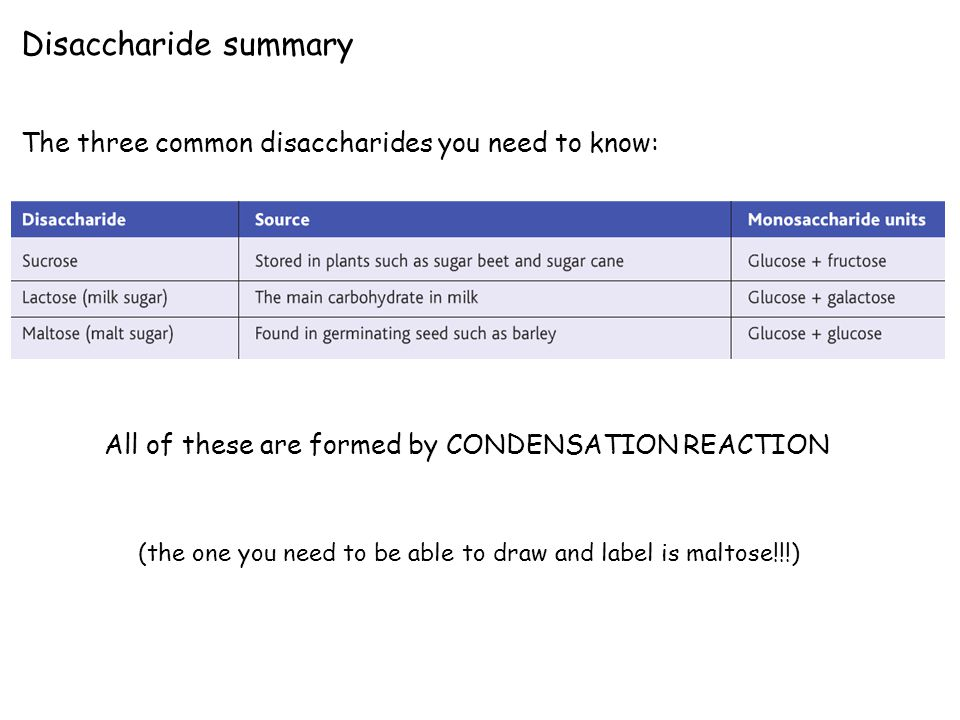 Disaccharide summary The three common disaccharides you need to know: All of these are formed by CONDENSATION REACTION (the one you need to be able to