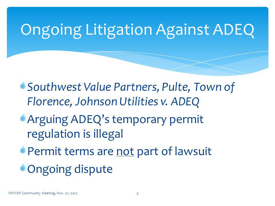 Southwest Value Partners, Pulte, Town of Florence, Johnson Utilities v.