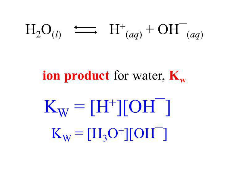 ion product for water, K w K W = [H 3 O + ][OH¯] K W = [H + ][OH¯] H 2 O (l) H + (aq) + OH¯ (aq)
