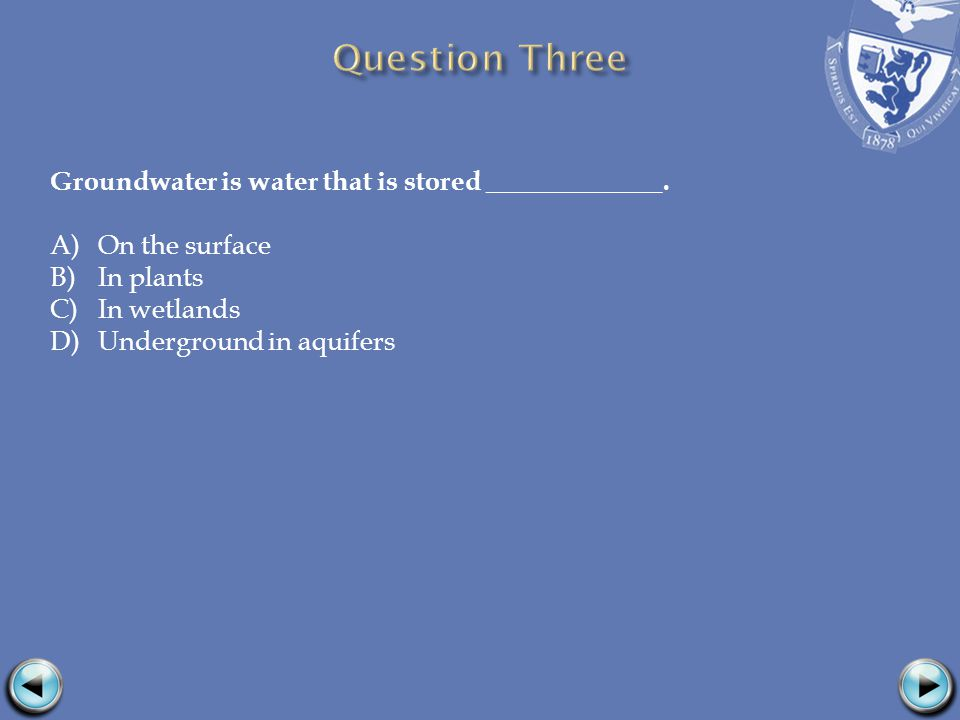 Groundwater is water that is stored _____________.
