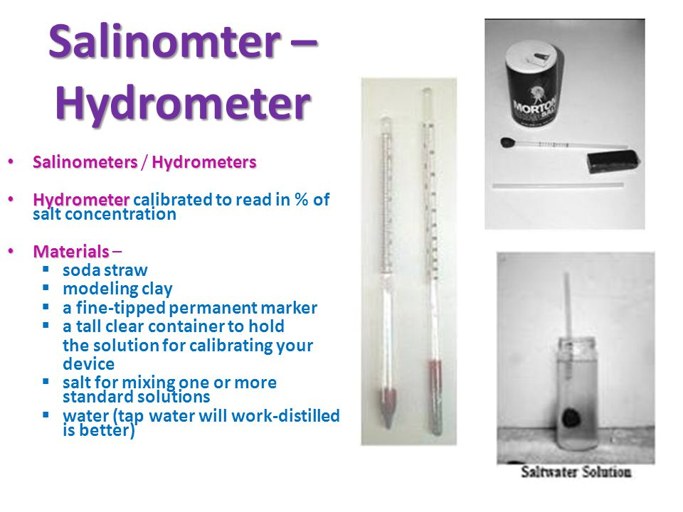 Salinomter – Hydrometer SalinometersHydrometers Salinometers / Hydrometers Hydrometer Hydrometer calibrated to read in % of salt concentration Materials Materials – soda straw modeling clay a fine-tipped permanent marker a tall clear container to hold the solution for calibrating your device salt for mixing one or more standard solutions water (tap water will work-distilled is better)