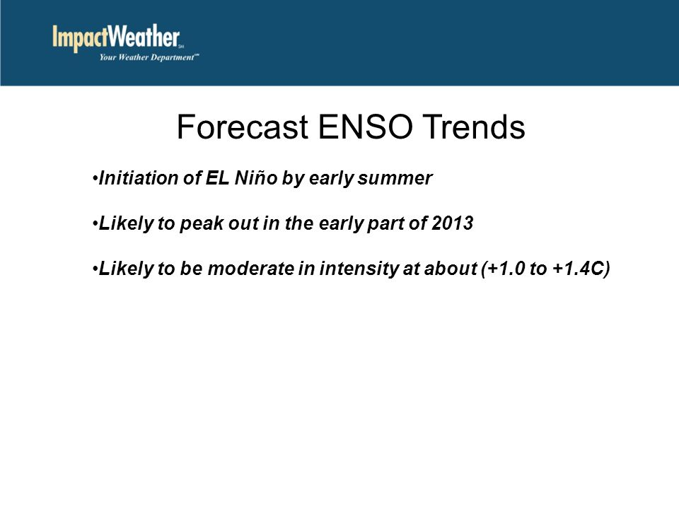 Forecast ENSO Trends Initiation of EL Niño by early summer Likely to peak out in the early part of 2013 Likely to be moderate in intensity at about (+1.0 to +1.4C)