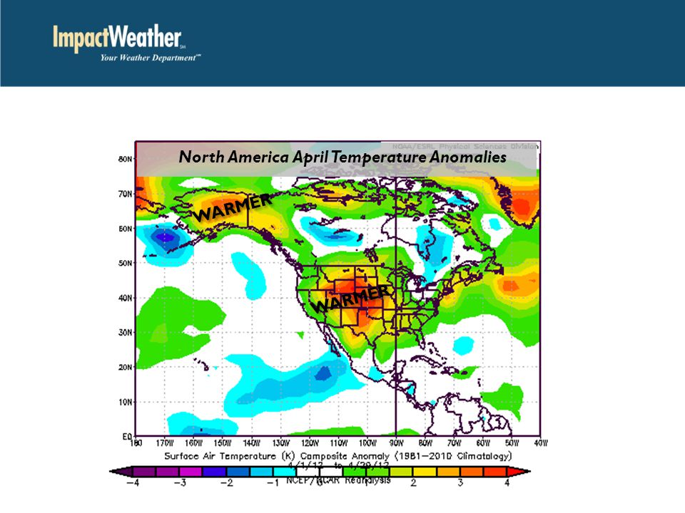 WARMER North America April Temperature Anomalies