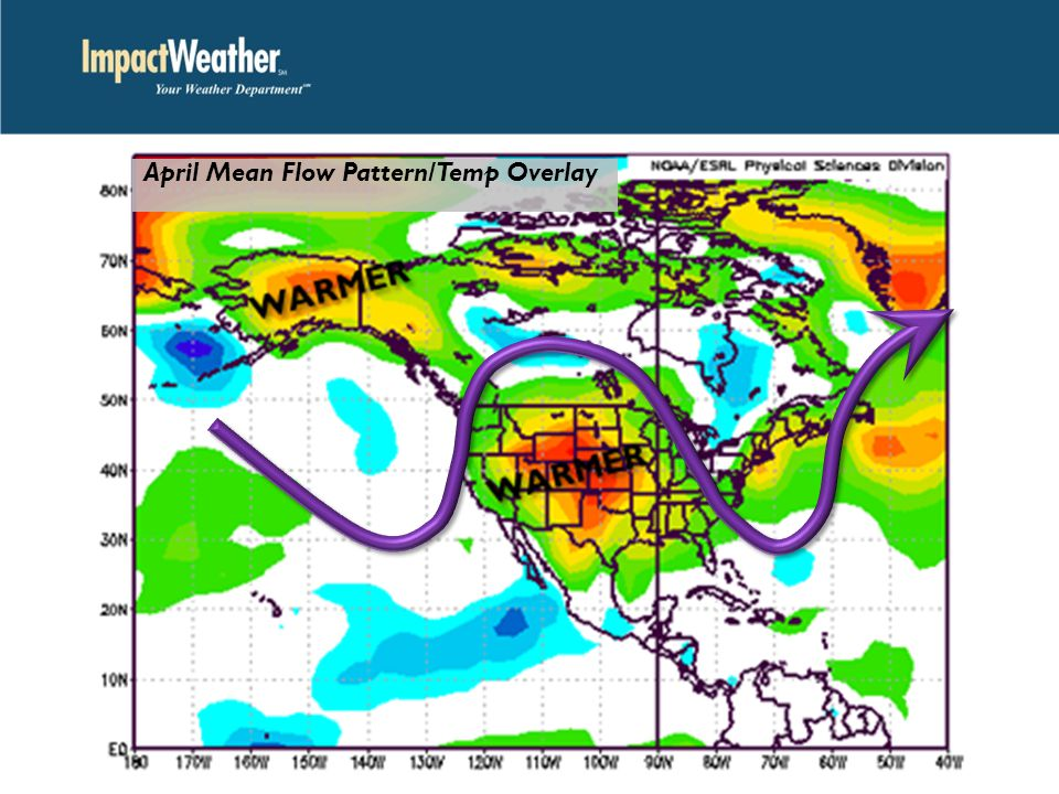 April Mean Flow Pattern/Temp Overlay