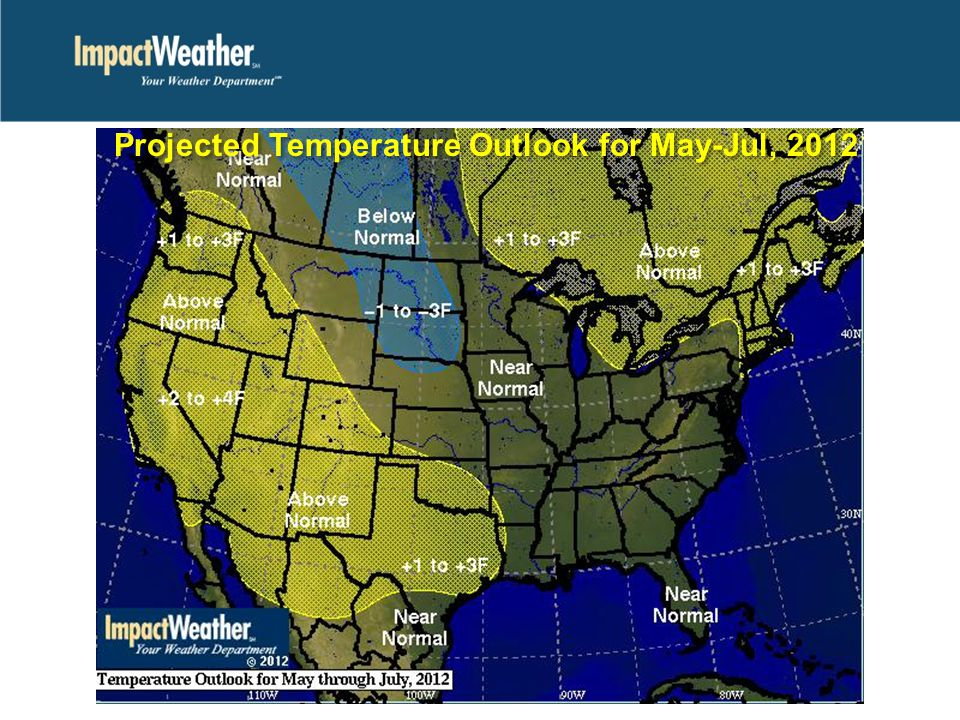 Projected Temperature Outlook for May-Jul, 2012