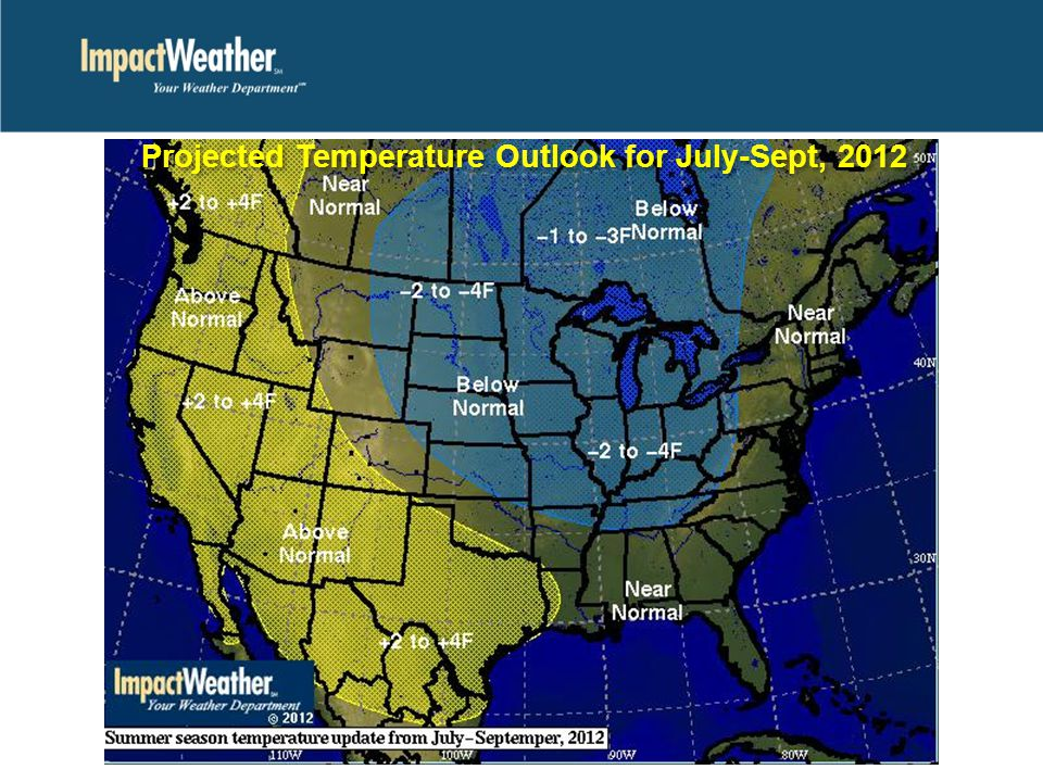 Projected Temperature Outlook for July-Sept, 2012