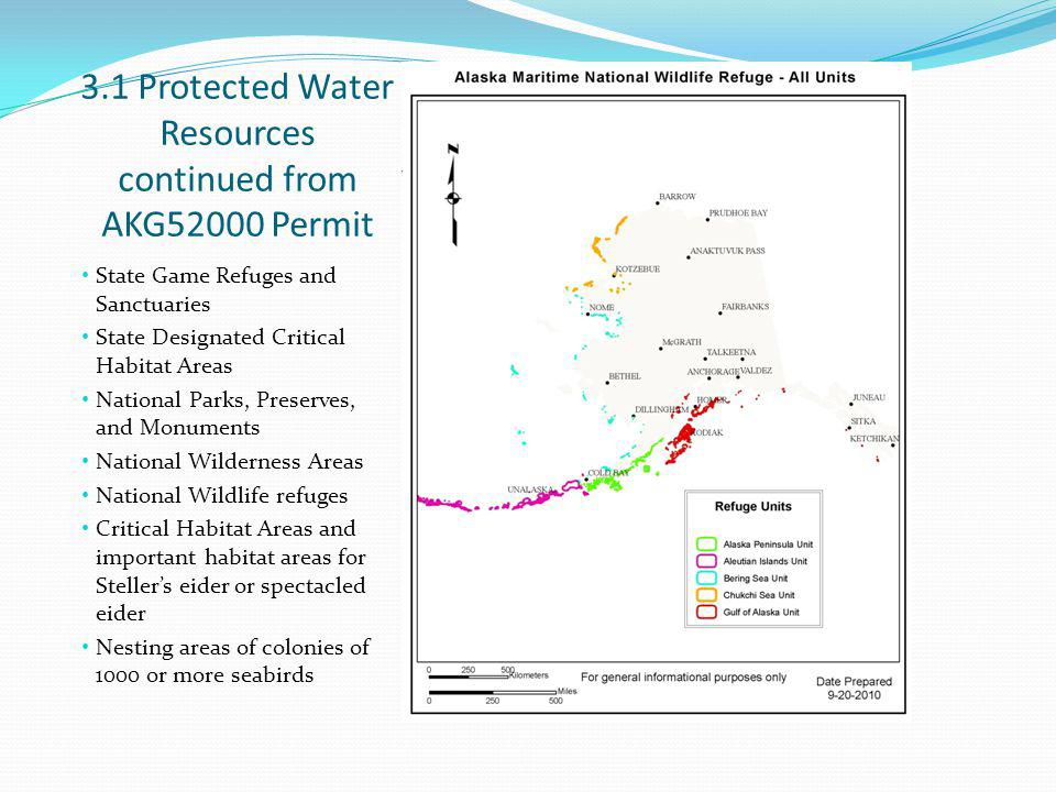 3.1 Protected Water Resources continued from AKG52000 Permit State Game Refuges and Sanctuaries State Designated Critical Habitat Areas National Parks