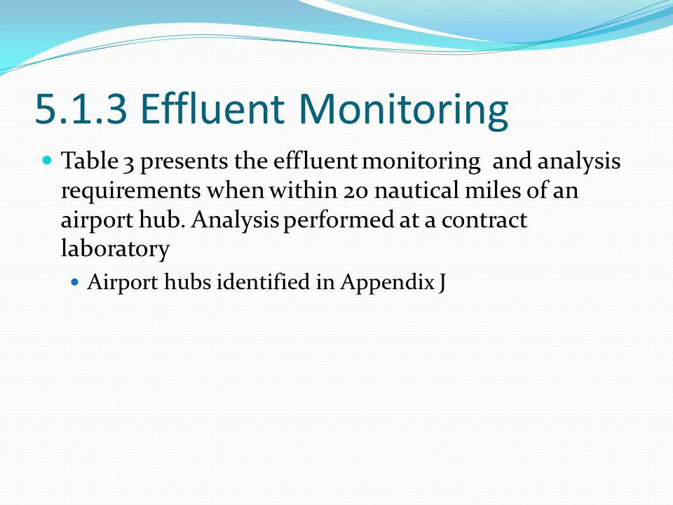 5.1.3 Effluent Monitoring Table 3 presents the effluent monitoring and analysis requirements when within 20 nautical miles of an airport hub. Analysis