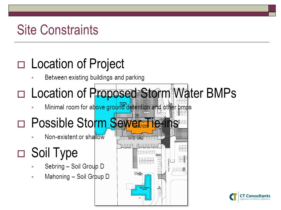 Site Constraints Location of Project Between existing buildings and parking Location of Proposed Storm Water BMPs Minimal room for above ground detention and other bmps Possible Storm Sewer Tie-ins Non-existent or shallow Soil Type Sebring – Soil Group D Mahoning – Soil Group D