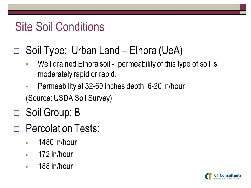 Site Soil Conditions Soil Type: Urban Land – Elnora (UeA) Well drained Elnora soil - permeability of this type of soil is moderately rapid or rapid.