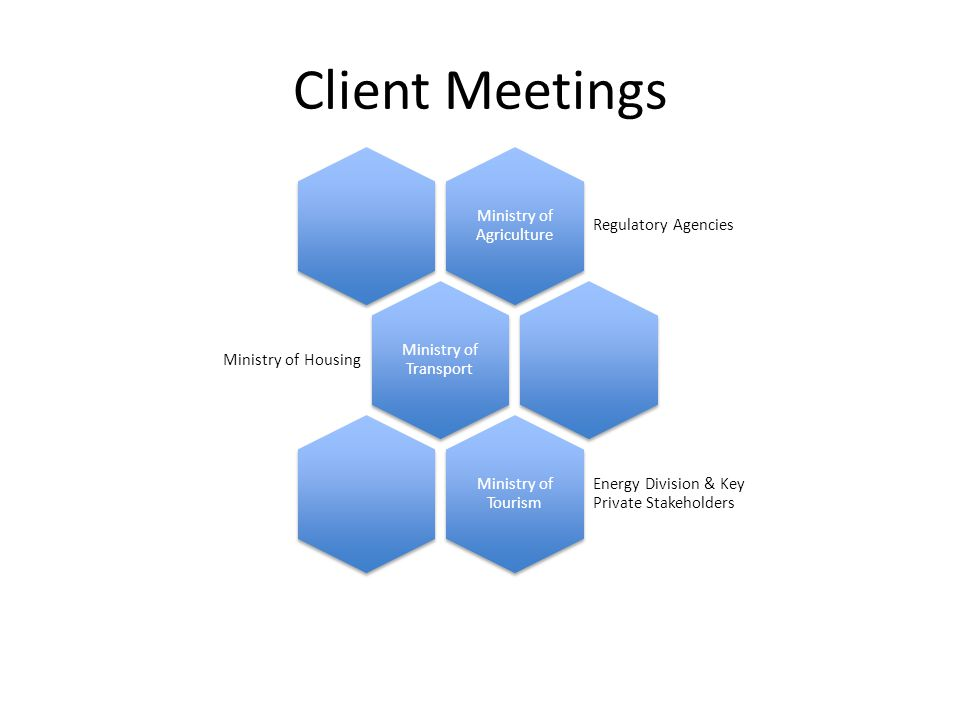 Client Meetings Ministry of Agriculture Regulatory Agencies Ministry of Transport Ministry of Housing Ministry of Tourism Energy Division & Key Private Stakeholders