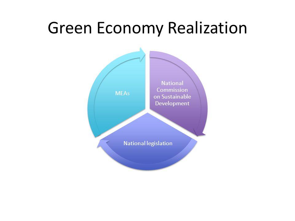 Green Economy Realization National Commission on Sustainable Development National legislation MEAs