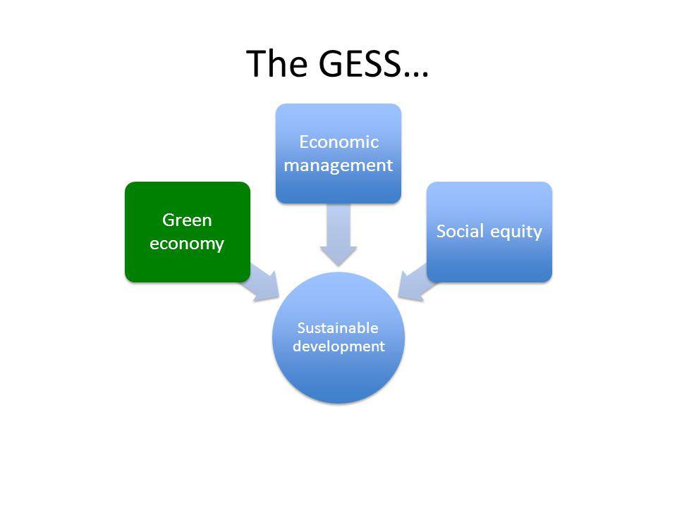 The GESS… Sustainable development Green economy Economic management Social equity