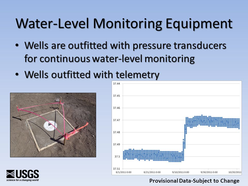 Water-Level Monitoring Equipment Wells are outfitted with pressure transducers for continuous water-level monitoring Wells are outfitted with pressure transducers for continuous water-level monitoring Wells outfitted with telemetry Wells outfitted with telemetry Provisional Data-Subject to Change
