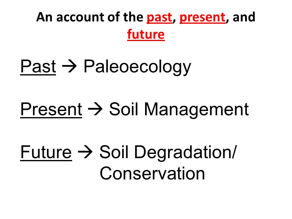 An account of the past, present, and future Past Paleoecology Present Soil Management Future Soil Degradation/ Conservation