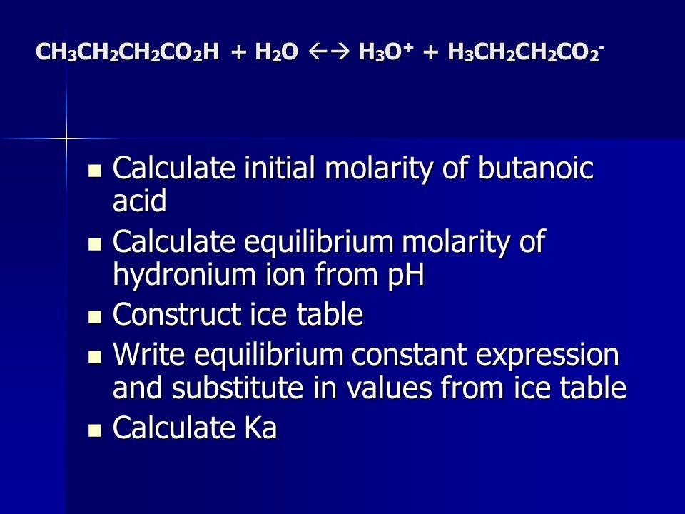 CH 3 CH 2 CH 2 CO 2 H + H 2 O H 3 O + + H 3 CH 2 CH 2 CO 2 - Calculate initial molarity of butanoic acid Calculate initial molarity of butanoic acid C