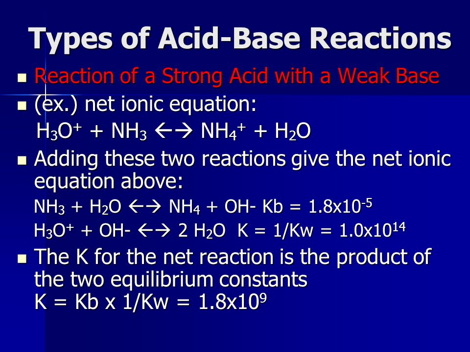 Types of Acid-Base Reactions Reaction of a Strong Acid with a Weak Base Reaction of a Strong Acid with a Weak Base (ex.) net ionic equation: (ex.) net