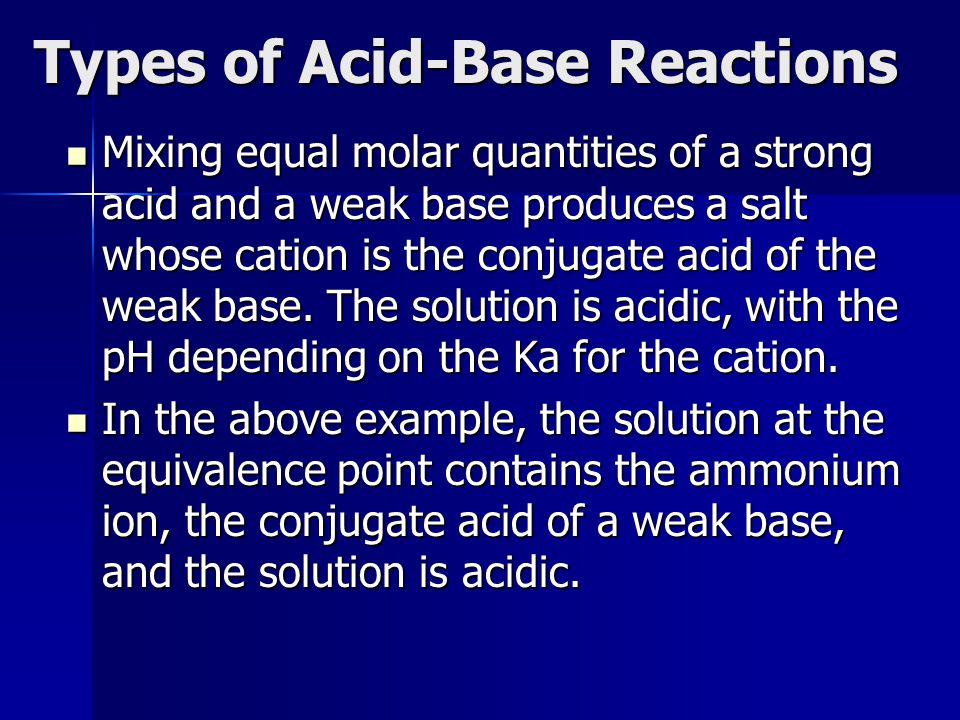 Types of Acid-Base Reactions Mixing equal molar quantities of a strong acid and a weak base produces a salt whose cation is the conjugate acid of the