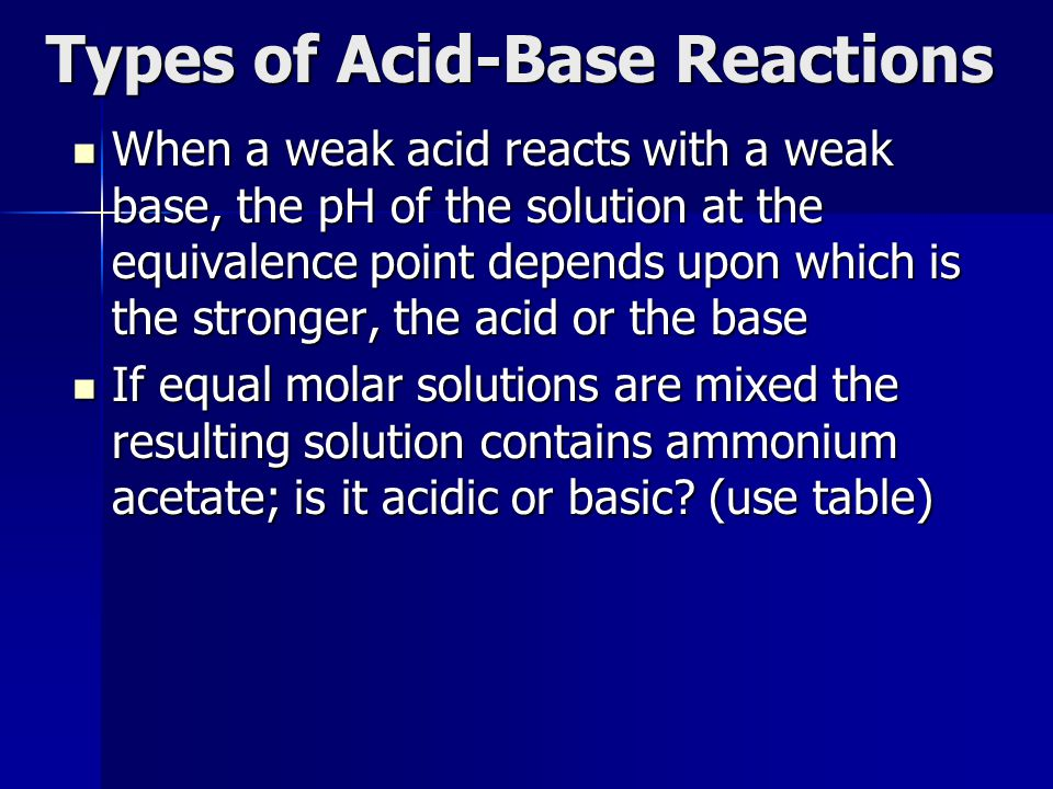 Types of Acid-Base Reactions When a weak acid reacts with a weak base, the pH of the solution at the equivalence point depends upon which is the stron