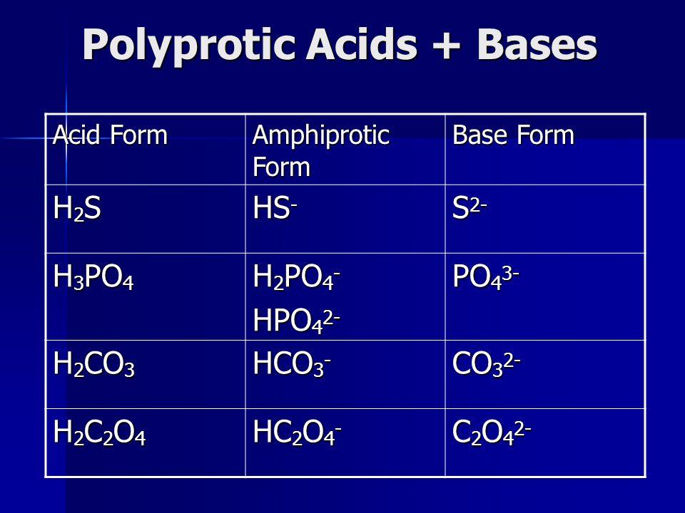 Polyprotic Acids + Bases Acid Form Amphiprotic Form Base Form H2SH2SH2SH2S HS - S 2- H 3 PO 4 H 2 PO 4 - HPO 4 2- PO 4 3- H 2 CO 3 HCO 3 - CO 3 2- H2C
