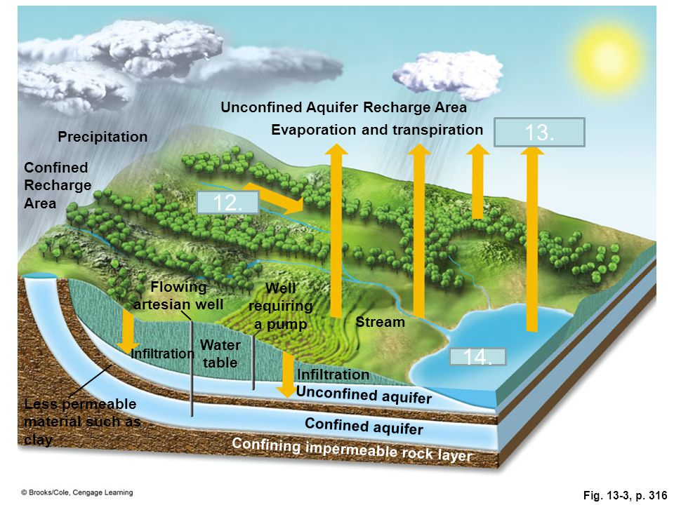 Fig. 13-3, p. 316 Unconfined Aquifer Recharge Area Precipitation Evaporation and transpiration Evaporation Confined Recharge Area Runoff Flowing artes